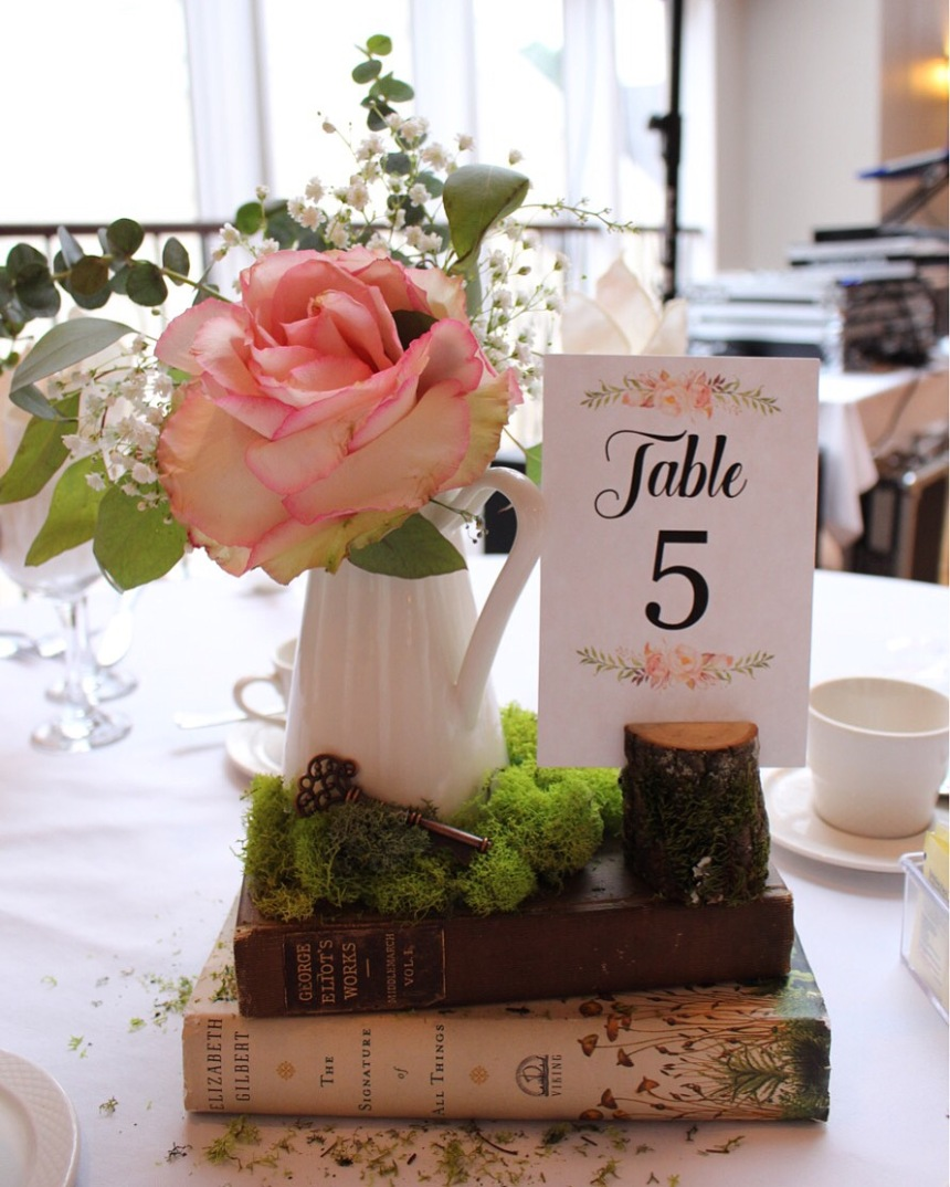 Secret Garden Centerpiece with Custom Table Numbers