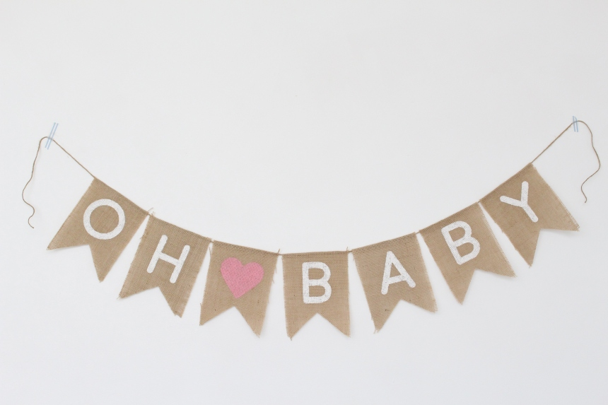 Oh Baby Burlap Banner
