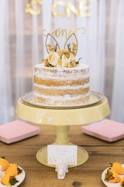 cake with topper and label